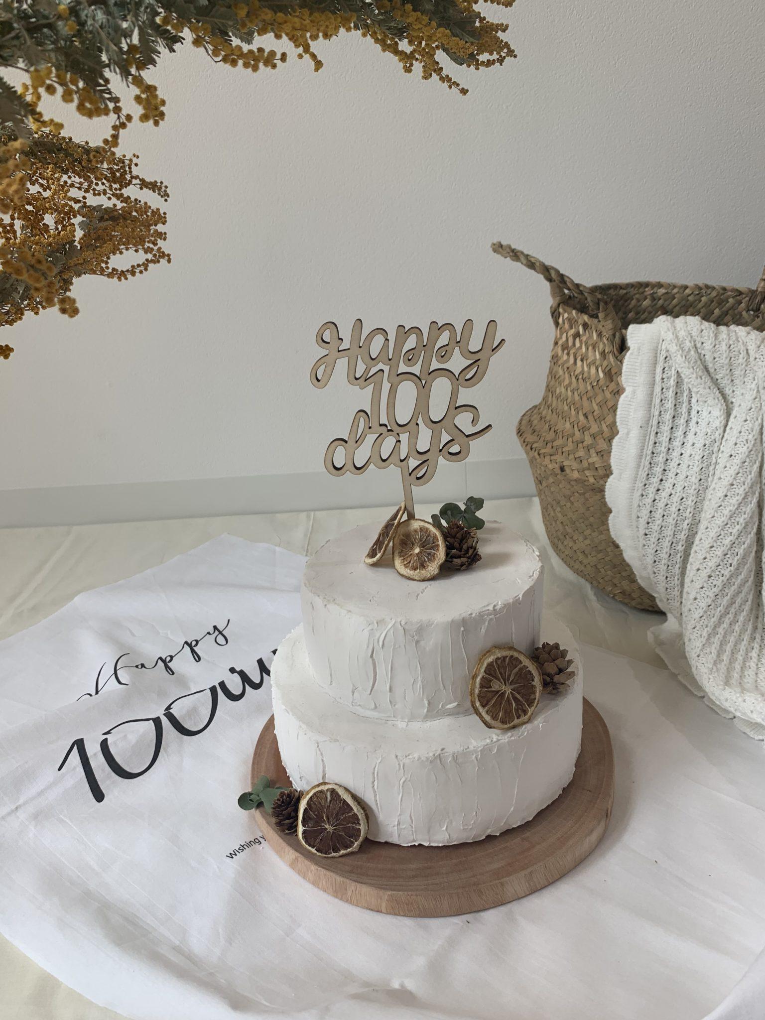 Happy100days ケーキトッパー